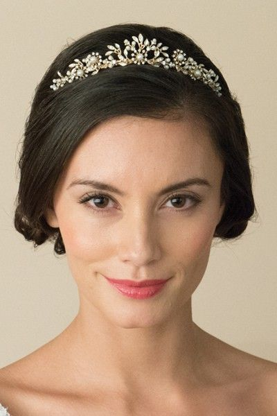 Diadème mariage Rio avec perles nacrées, feuilles en émail et pierres de cristal Swarovski® Elements - Princesse d'un Jour