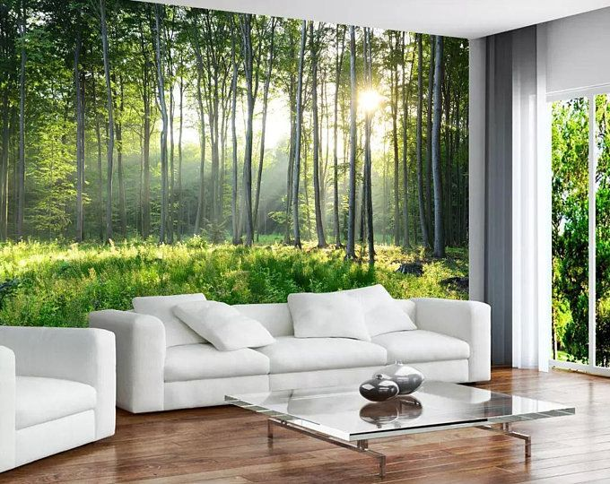 Foggy Mountain Wallpaper Removable Misty Forest Wall Mural For Home Bedroom Tree Wall Art Decal Wallpaper Living Room Custom Photo Wallpaper Wall Decor Bedroom
