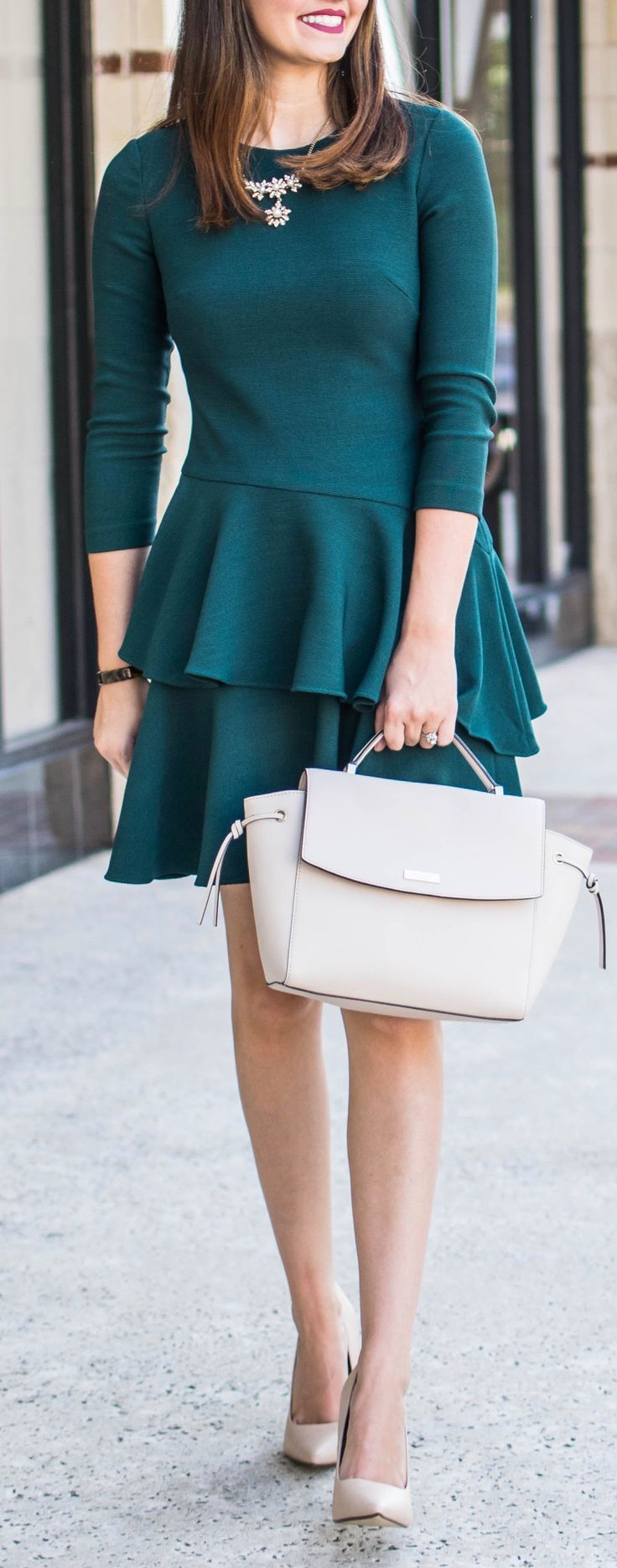 Eliza J Dress #greendress #falldress #ruffledress #fall #outfit