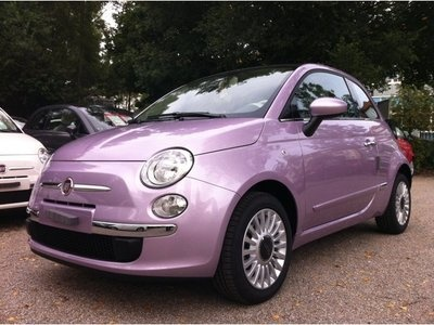 this is the shitty pink we got in australia hahahah Fiat 500 1.2 Lounge Dualogic  purple pop. Love the color!