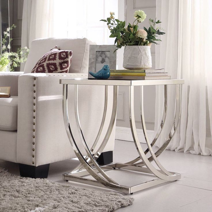 Anson Steel Brushed Arch Curved Sculptural Modern End Table by INSPIRE Q | Overstock.com Shopping - The Best Deals on Coffee, Sofa & End Tables