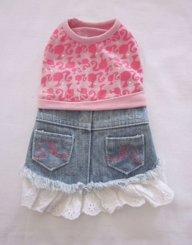 Barbie Dog Dress Denim Skirt w/ Eyelet Ruffle Pink Knit Top w/Barbie Logo XS #Barbie