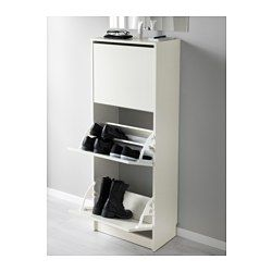 IKEA - BISSA, Shoe cabinet with 3 compartments, black/brown, , Helps you organise your shoes and saves floor space at the same time.You can easily adjust the space in the shoe compartments by moving or taking away the dividers.In the shoe cabinet your shoes get the ventilation and the space they need to keep them like new for longer.