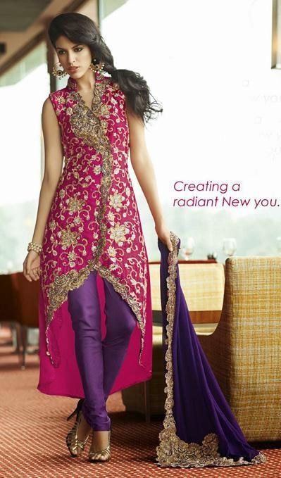 USD 150.36 Pink Zardosi Work Silk Designer Salwar Kameez 27466
