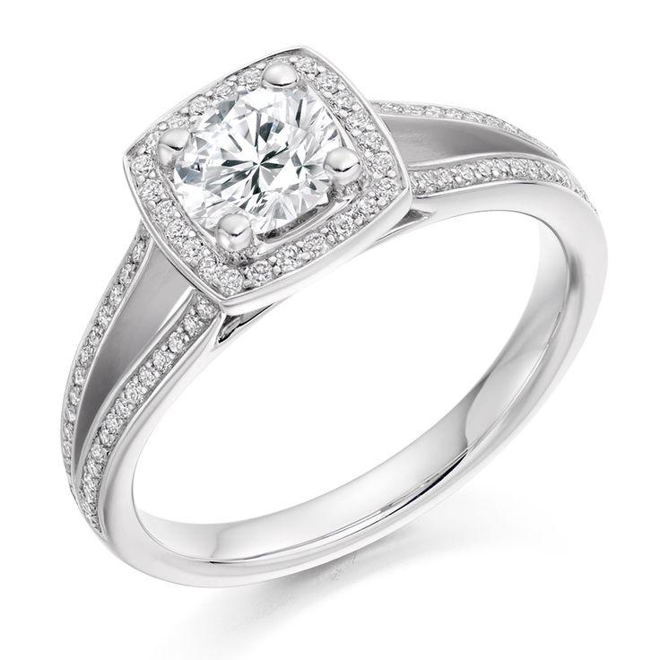 Halo Set 0.75ct Split Shoulder Diamond Ring