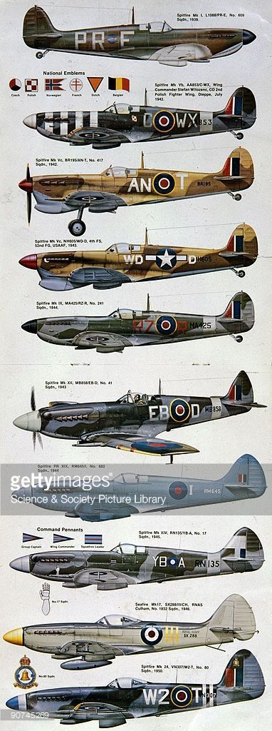 Magazine centrefold showing different versions of the Spitfire painted in the markings of various squadrons and air forces. Profiles of this type provide invaluable reference for researchers and aircraft modellers. Designed by Reginald Mitchell and powered by a Rolls-Royce Merlin engine, the Spitfire was integral to Britain's front-line air defence during World War II, and together with the Hawker Hurricane fighter played a key role in the Battle of Britain of 1940