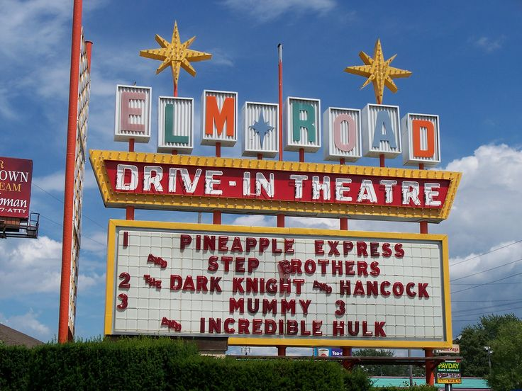 Elm Road Drive-in Theatre vintage sign