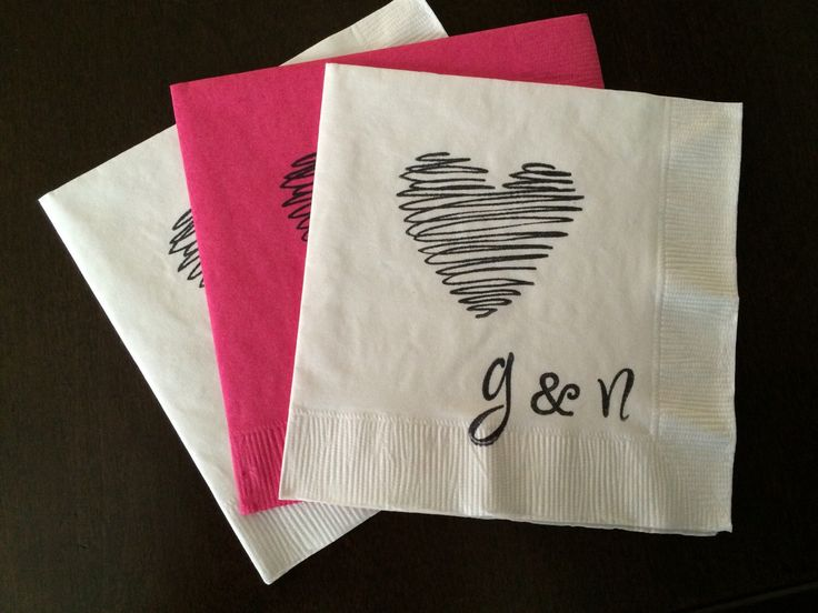 Personalized Heart Napkins - Engagement Party, Wedding Napkin, Cocktail Cake, Bridal Shower, Bachelorette Party, Custom Napkin, Heart Theme by SteshaParty on Etsy https://www.etsy.com/listing/239411204/personalized-heart-napkins-engagement