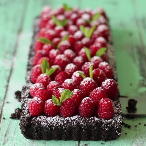 Christmas chocolate and baileys raspberry tart.