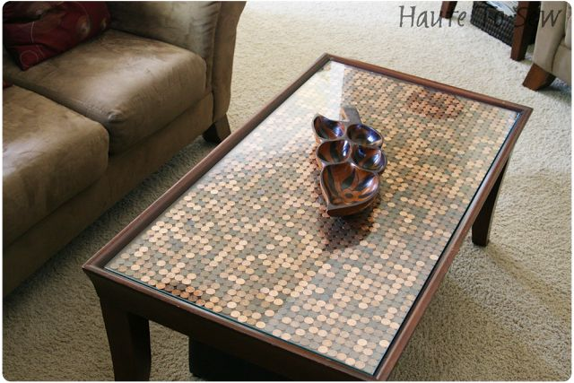 penny coffee table without epoxy