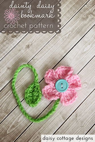 Dainty daisy bookmark, free pattern by Daisy Cottage Designs