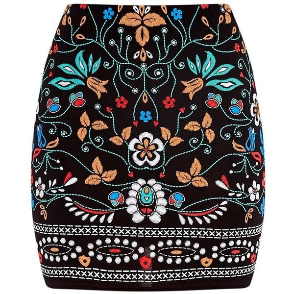 Marni Black Embroidered Print Mini Skirt (68 BRL) ❤ liked on Polyvore featuring skirts, mini skirts, embroidered skirt, marni, mini skirt, short skirts and short mini skirts