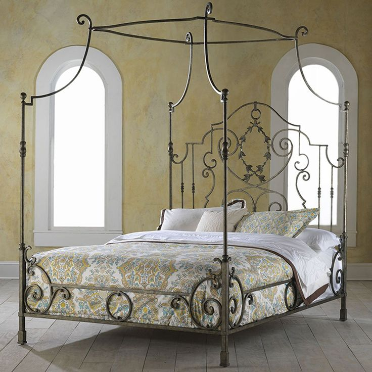Highland House French Country King Metal Canopy Bed HH-HH11-136-C-MA