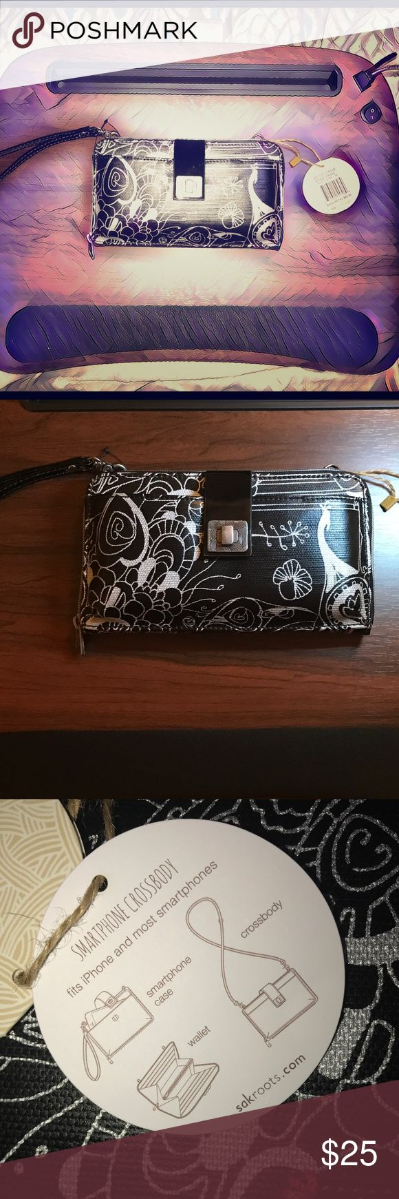 Sakroots crossbody wallet phone case multi-use NWT NWT Sakroots Brand crossbody/wristlet/wallet/cell phone cover - holds up to iPhone 7Plus in front pocket with buckle NWT Sakroots Bags Crossbody Bags