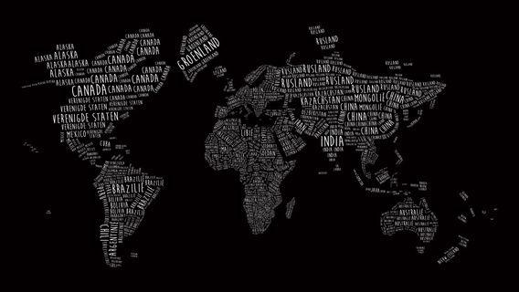 Wereldkaart in Typografie. Witte landnamen op een zwarte achtergrond.