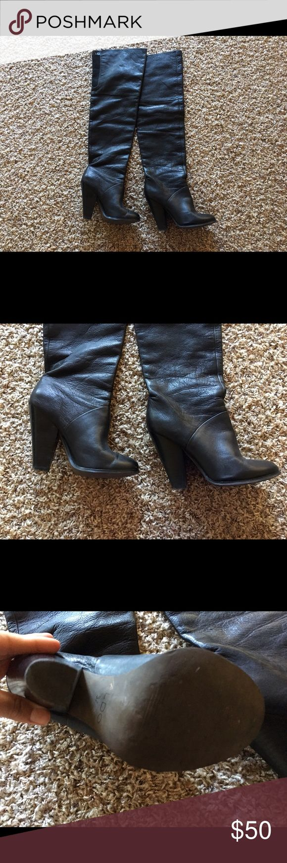Aldo thigh high boots Aldo size 7 1/2 black leather thigh high boots. They are in GREAT condition! Only worn 4 times. Unfortunately I don't have a need for them anymore :( I purchased them for $150 originally. You will love these boots! Aldo Shoes Over the Knee Boots
