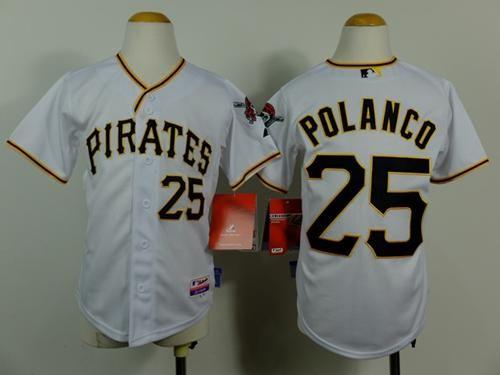 Pirates #25 Gregory Polanco White Cool Base Stitched Youth Baseball Jersey