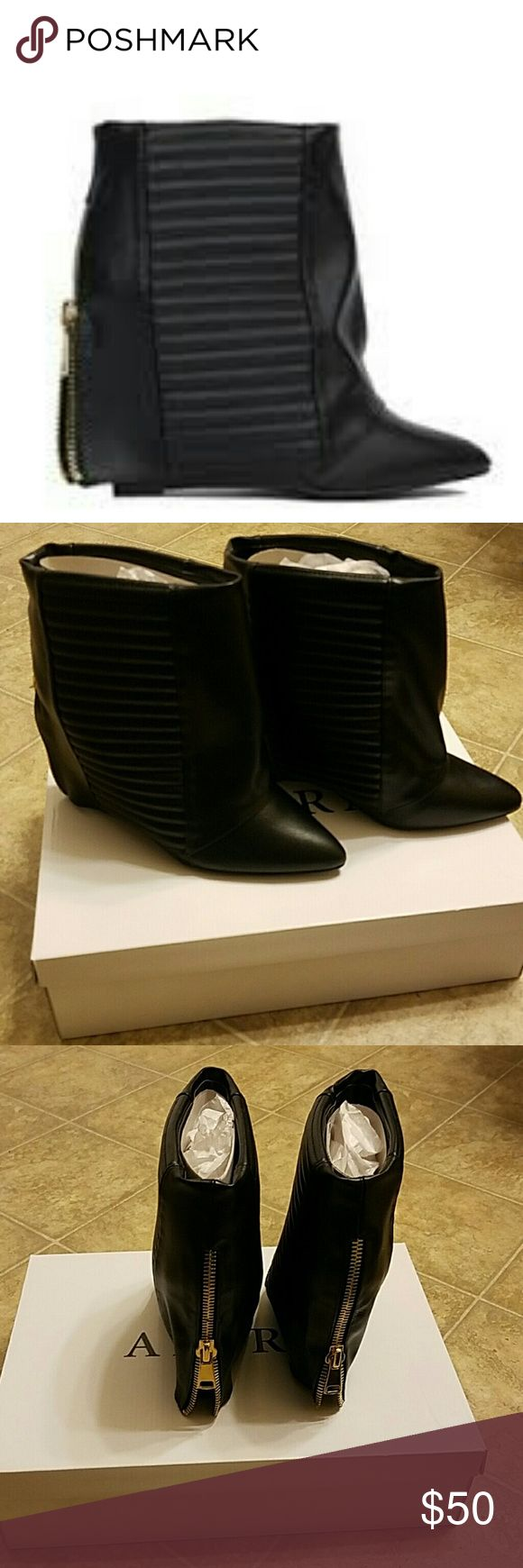 New Akira Black Fold Over Boots 10 Brand new with box fold over short boots. If you have any questions before purchasing please contact me. Thanks for looking. AKIRA Shoes Ankle Boots & Booties