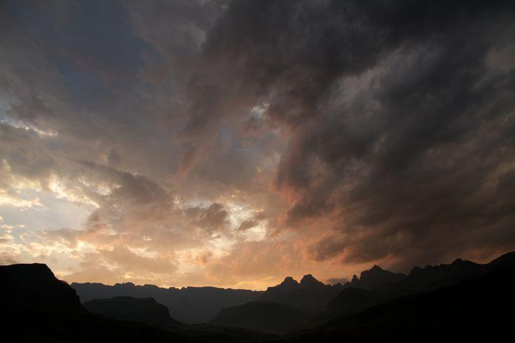 Sunset over the Drakensberg. South Africa