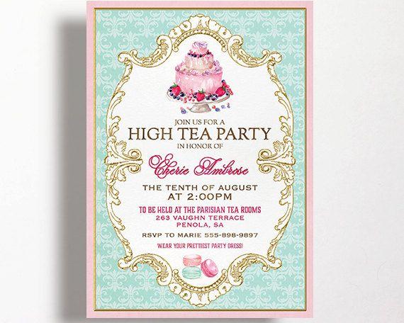 Té invitación francés Tea Party cocina té por WestminsterPaperCo