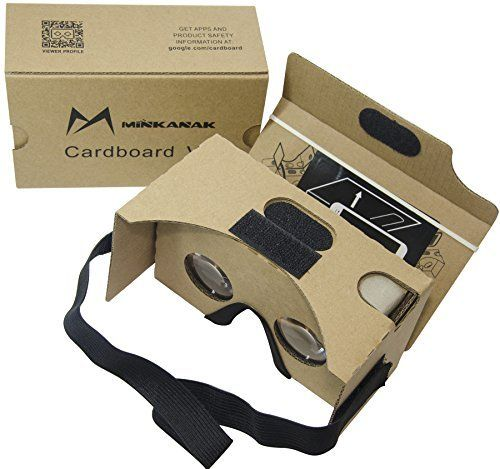 Google Cardboard Kit V2 by MINKANAK Bigger Lens 3D Virtual Reality Cardboard Glasses with Head Strap Nose Pad Forehead Pad and NFC TagCompatible with 3-6inch Screen Android and Apple Smartphone