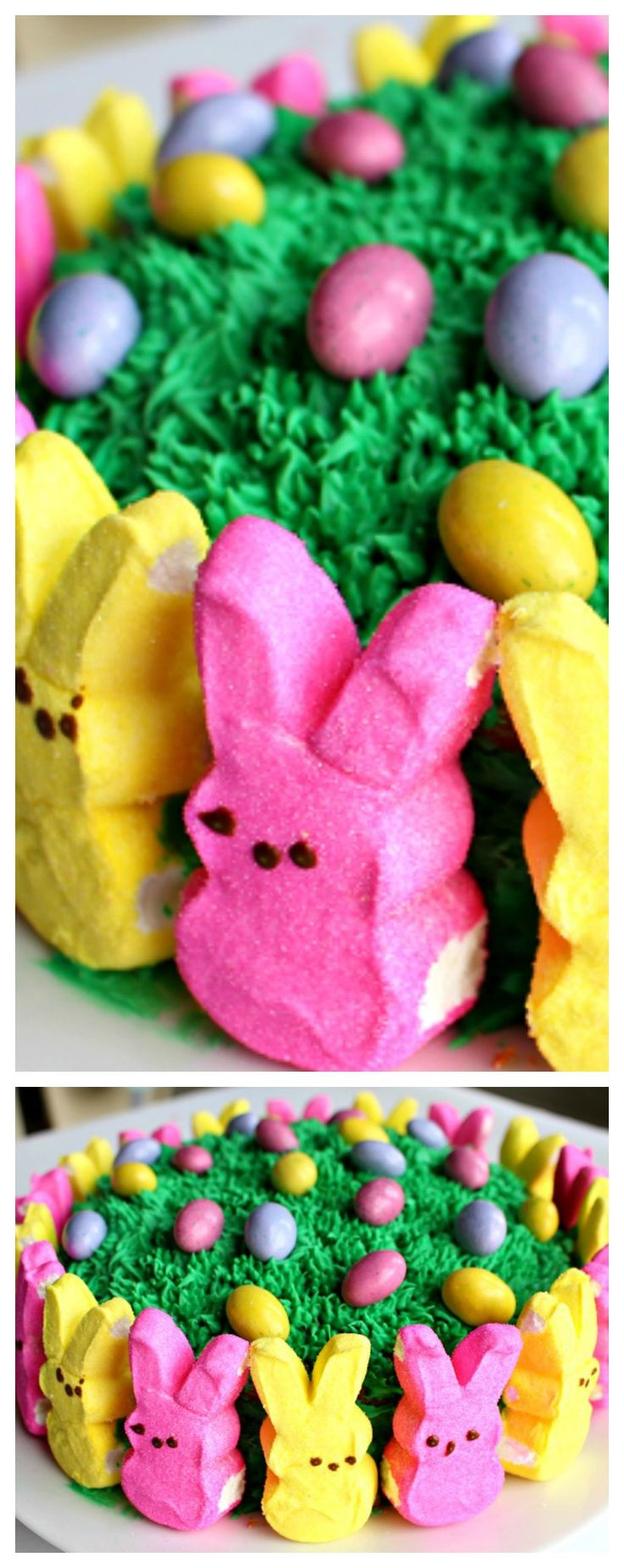 Easy Marshmallow Peeps Easter Cake ~ Easy, cute and fun!