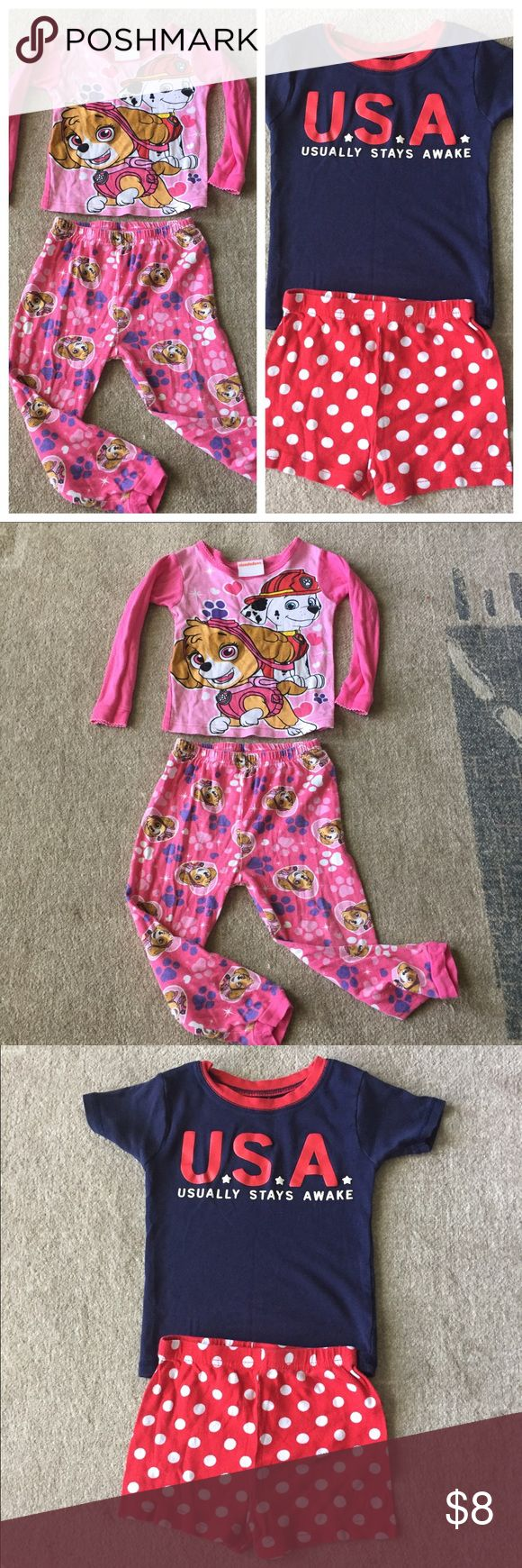 "Bundle 3T Paw Patrol Carters Pajamas Gently used condition with regular signs of wash and wear. No stains or holes. Paw Patrol is lightweight and long sleeves. Carters graphic ""USA"" has small cracks on the corners (see photo). Nickelodeon & Carters  Pajamas Pajama Sets"