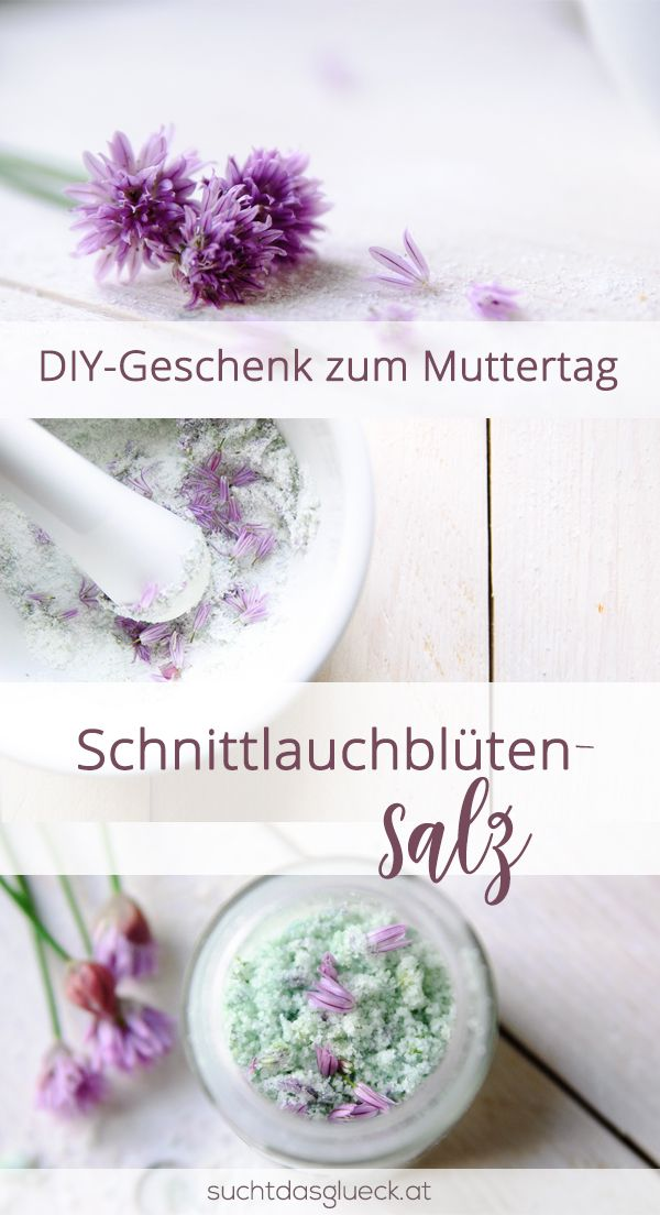 DIY zum Muttertag. Schnittlauchblütensalz schnell und einfach gemacht. Sieht wunderhübsch aus.