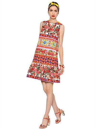 DOLCE & GABBANA Floral Cotton Crepe Dress W/ Ruffled Hem, Pink/Multi. #dolcegabbana #cloth #dresses