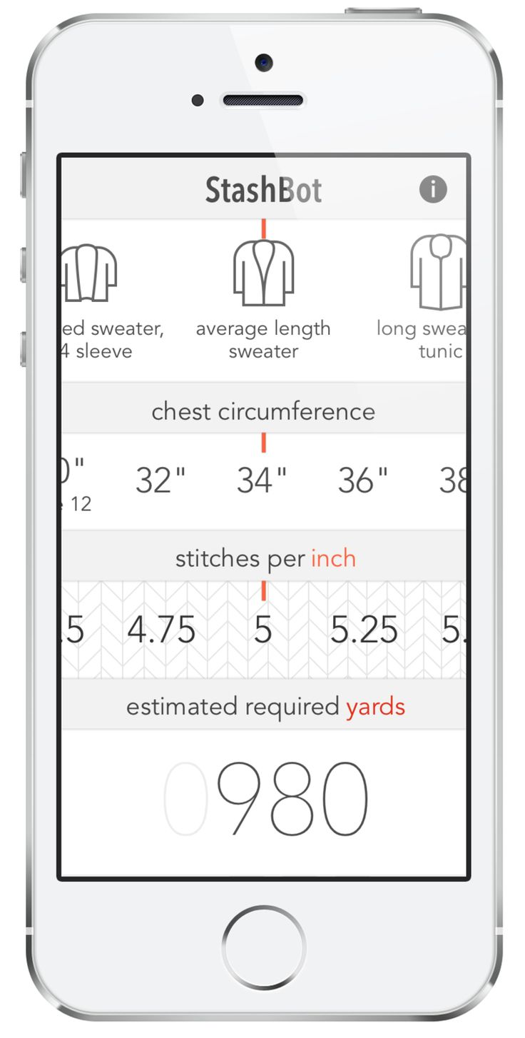 StashBot — Knitbot, by Hannah Fettig APP for calculating the amount of yarn your…