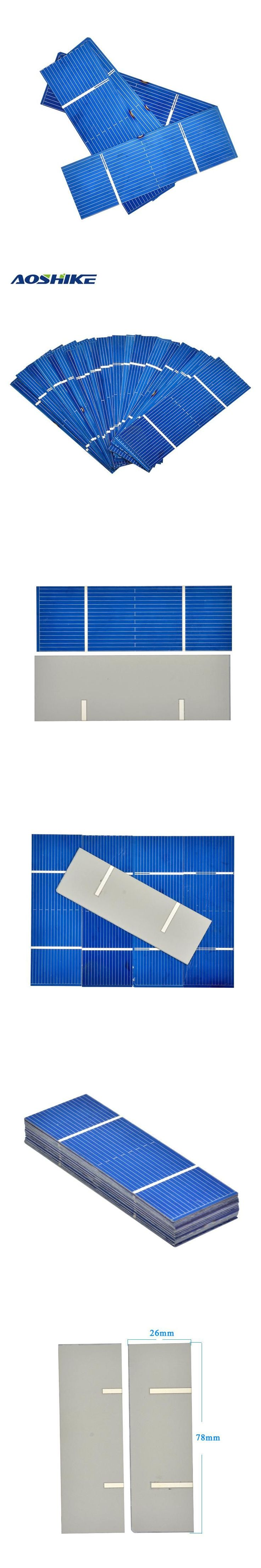 Aoshike 50Pcs Solar Panel Solar Cell 0.5V 0.35W Color Crystal Module DIY Solar Battery Charger 78x26mm Power Bank China