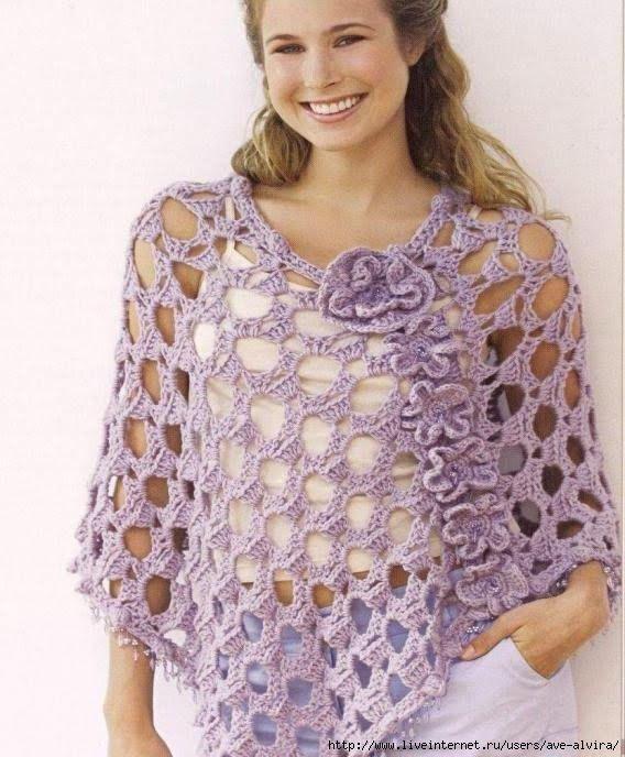 Ponchos a crochet con patrones - Imagui