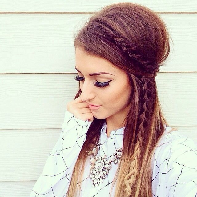 Teased half up half down hairstyle with braids
