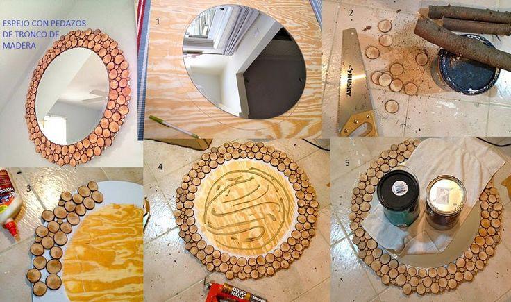 Espejo con madera.. una idea padrisima para decorar y sobre todo super facil !!