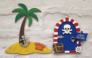 Beautiful Hand Painted Pirate Fairy Door With Island Pirate Bedroom Wall Decor  | eBay