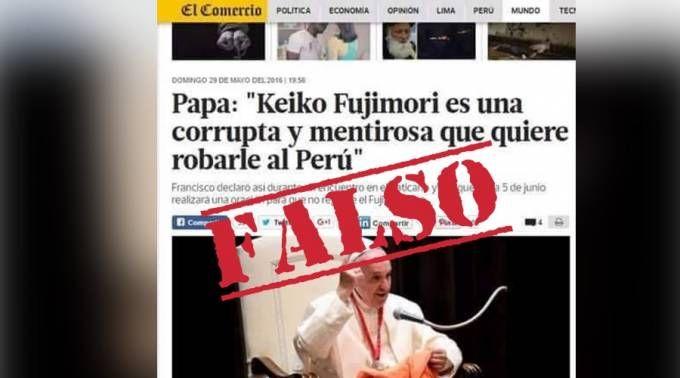 Nuevo bulo: El Papa no ha opinado sobre Keiko Fujimori ni elecciones en Perú 02/06/2016 - 03:23 pm .- En redes sociales circula una falsa imagen que muestra al Papa Francisco opinando sobre la política peruana, a pocos días de las elecciones que determinarán al próximo presidente del país.