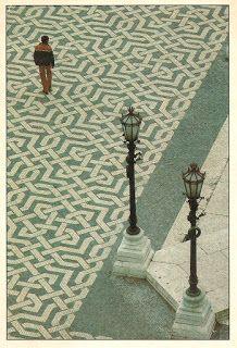 Portuguese cobblestone pavement. Calçada Portuguesa. Lisbon