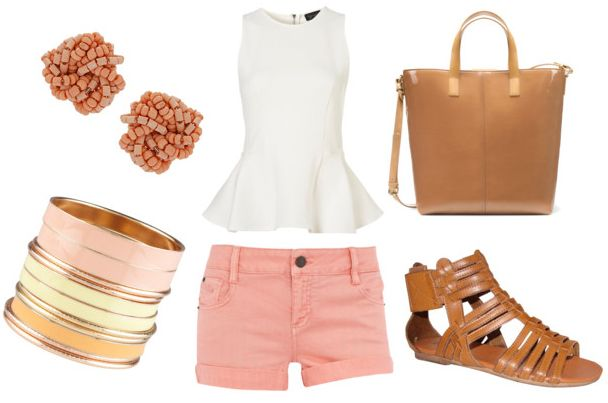 how to wear a white peplum top for day with pink shorts tan leather tote gladiator sandals pink bead earrings and pastel bangles