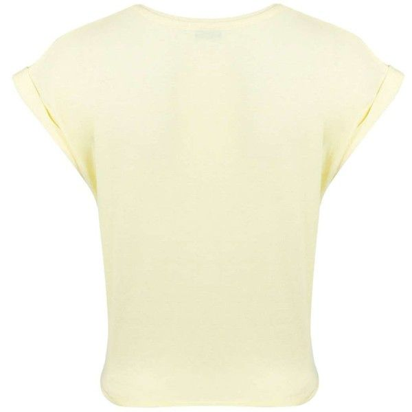 Yellow Tie Front Tee ❤ liked on Polyvore featuring tops, t-shirts, beige t shirt, yellow tee, tie front t shirt, beige top and yellow t shirt