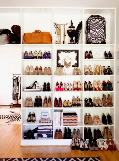 bookshelves for shoes.