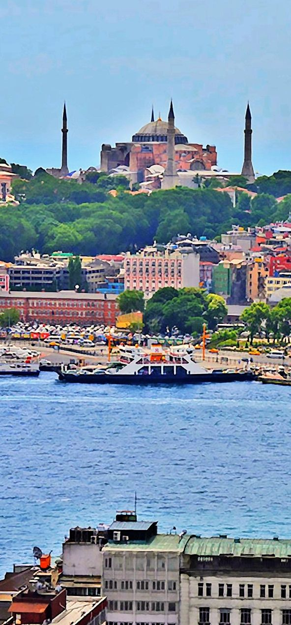 Blue Water - - - - - Views from the top of the Galata Tower. #istanbul #turkey
