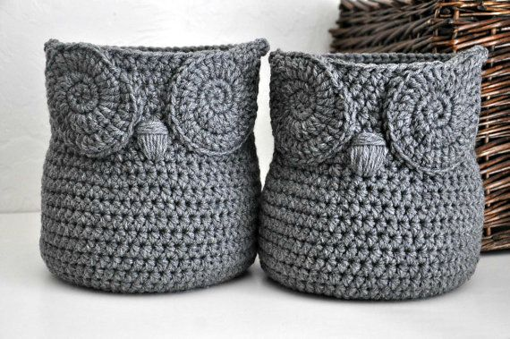 2 Grey Owl Baskets Crocheted Bin Yarn Holder Woodland Nursery Decor Home Organizer Custom Colors