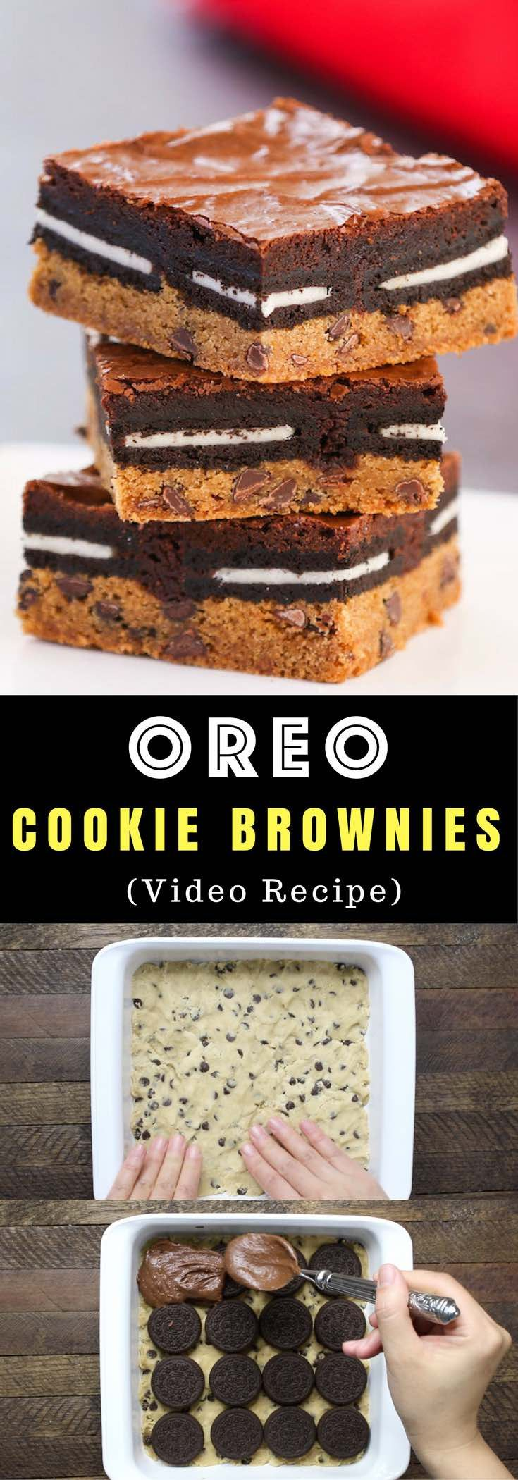Slutty Brownies – An easy and fun treat that everyone will love. All you need is a few simple recipes: refrigerated chocolate chip cookie dough, oreos, brownie mix, egg, oil and water. So Good! Party food, party dessert recipes, vegetarian. Video recipe.
