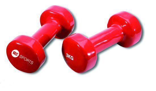 Vinyl dumbells 2 x 3.0 kg  Description: De RS Vinyl dipping dumbells zijn verkrijgbaar in sets van 05 kg tot 5 kg.Ieder gewicht heeft zijn eigen kleur waardoor de verschillende gewichten gemakkelijk uit elkaar te houden zijn. Doordat de sets een mooie vinyl coating hebben zijn ze gemakkelijk schoon te houden. Mede door de anatomische vorm liggen ze uitstekend in de hand. Het hoekige ontwerp zorgt ervoor dat de dumbells niet kunnen wegrollen zo staan ze garant voor een plezierige workout. \\n…