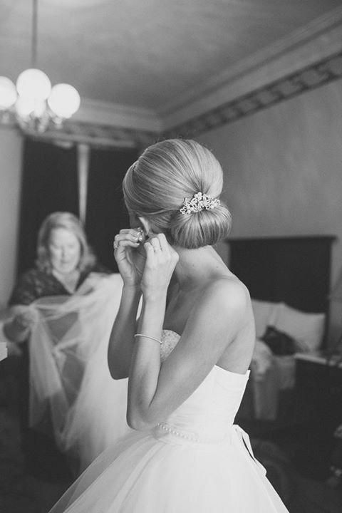 Lou Stevens Glam Squad - Virginia Hair & Makeup - Smooth, low bun with barrette #weddinghairsimple