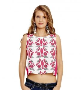 Jalebe trendy crop-top with bird print for women INDTJBL020