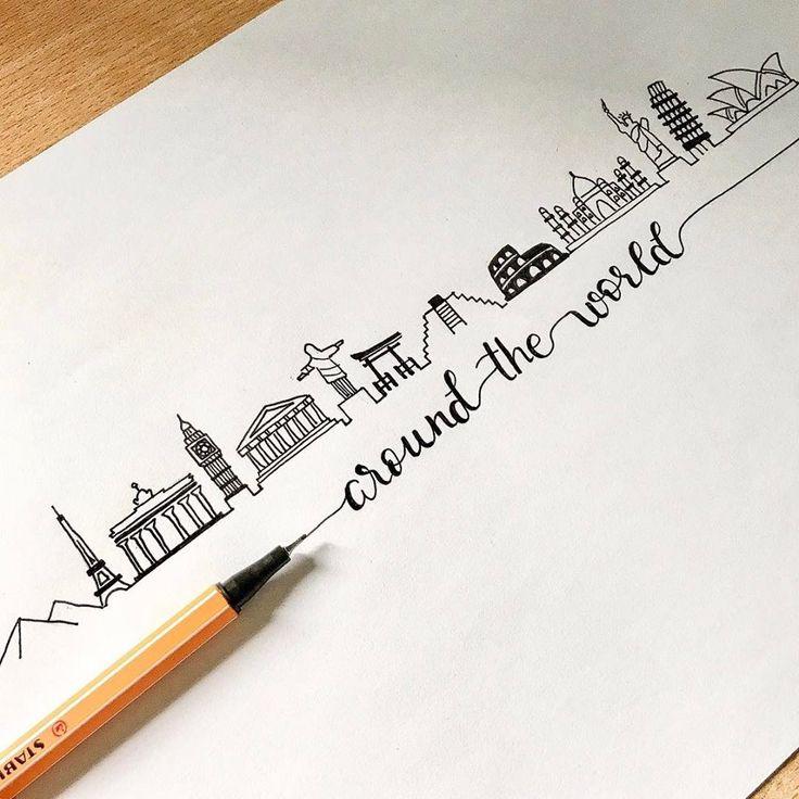 Pelo mundo com STABILO e muita arte ❤ Caligrafia linda e desenhos fofos by cr.creates (insta).