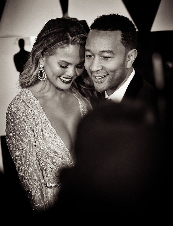 Pin for Later: Stunning Oscars Pictures You Haven't Seen Yet John Legend and Chrissy Teigen