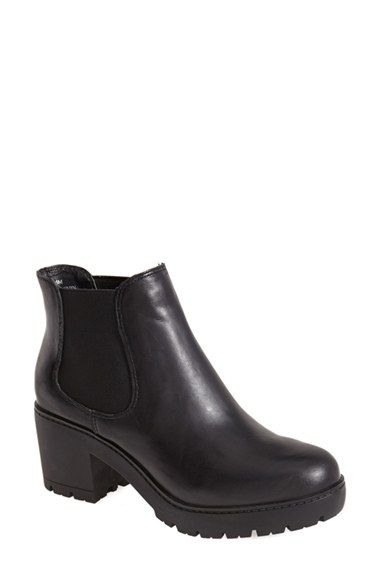 Free shipping and returns on Steve Madden 'Rumi' Leather Bootie (Women) at Nordstrom.com. A mod leather bootie set on a chunky platform and no-nonsense treads is surprisingly versatile and a breeze to slip on and off thanks to its inset elastic side panels.