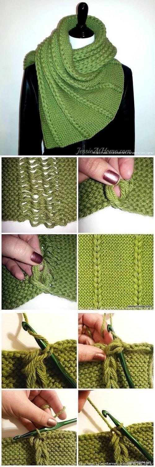Оригинальная идея декора вязаного полотна...♥ Deniz ♥.